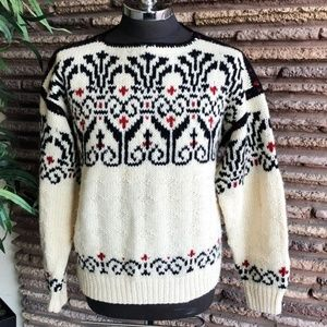 Vintage Hand Knit Robert Stock Nordic Ski Sweater